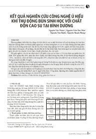 Kết quả nghiên cứu công nghệ ủ hiếu khí thụ động bùn sinh học với chất độn cao su tại Bình Dương - Nguyễn Văn Phước