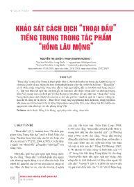 """Khảo sát cách dịch """"Thoại đầu"""" tiếng Trung trong tác phẩm """"Hồng lâu mộng"""" - Nguyễn Thị Luyện"""