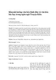Khuynh hướng văn hóa bình dân và văn hóa bác học trong ngôn ngữ Truyện Kiều - Võ Minh Hải