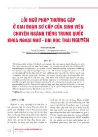Lỗi ngữ pháp thường gặp ở giai đoạn sơ cấp của sinh viên chuyên ngành tiếng Trung Quốc khoa ngoại ngữ - Đại học Thái Nguyên - Phùng Thị Tuyết