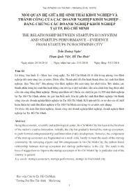 Mối quan hệ giữa hệ sinh thái khởi nghiệp và thành công của các doanh nghiệp khởi nghiệp – Bằng chứng các doanh nghiệp khởi nghiệp tại TP. Hồ Chí Minh - Trần Hoàng Ngân