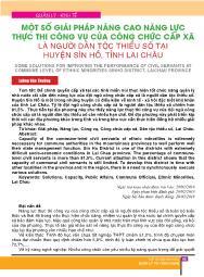 Một số giải pháp nâng cao năng lực thực thi công vụ của công chức cấp xã là người dân tộc thiểu số tại huyện Sìn Hồ, tỉnh Lai Châu