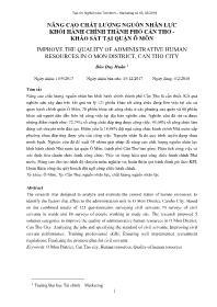Nâng cao chất lượng nguồn nhân lực khối hành chính thành phố Cần Thơ - Khảo sát tại quận Ô Môn - Đào Duy Huân