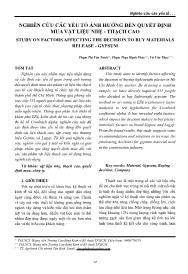 Nghiên cứu các yếu tố ảnh hưởng đến quyết định mua vật liệu nhẹ - Thạch cao - Phạm Thị Vân Trinh
