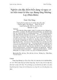 Nghiên cứu đặc điểm biến dạng và nguy cơ tai biến trtượt lở khu vực thung lũng Mường Lay (Điện Biên) - Đinh Tiến Dũng