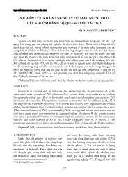 Nghiên cứu khả năng xử lý độ màu nước thải dệt nhuộm bằng hệ quang xúc tác TiO2 - Phạm Nguyễn Kim Tuyến