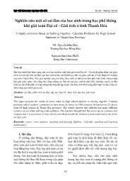 Nghiên cứu một số sai lầm của học sinh trung học phổ thông khi giải toán Đại số - Giải tích ở tỉnh Thanh Hóa - Nguyễn Hữu Hậu