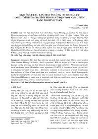 Nghiên cứu sự lan truyền sóng lũ tới hạ lưu công trình trong tình huống vỡ đập vòm nậm chiến bằng mô hình toán - Lê Thanh Hùng