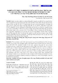 Nghiên cứu thực nghiệm xây dựng đường đặc trưng ẩm của đất (PF) phục vụ xác định chế độ tưới hợp lý cho cây trồng cạn tại vùng khô hạn Nam Trung Bộ - Trần Thái Hùng