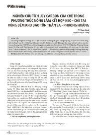 Nghiên cứu tích lũy carbon của chè trong phương thức nông lâm kết hợp keo - Chè tại vùng đệm khu bảo tồn Thần Sa - Phượng Hoàng - Vi Thùy Linh