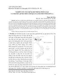 Nghiên cứu xây dựng hệ thống phân loại và thành lập bản đồ cảnh quan lãnh thổ tỉnh Sơn La - Phạm Anh Tuân