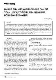 Những ảnh hưởng từ lối sống dân cư toàn lưu vực tới sự lành mạnh của dòng sông Đồng Nai - Bùi Trung Hưng