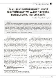Phân lập vi khuẩn phân hủy lipid từ nước thải lò giết mổ và chợ thực phẩm huyện Lai Vung, tỉnh Đồng Tháp - Trần Đức Tường