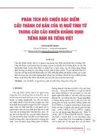 Phân tích đối chiếu đặc điểm cấu thành cơ bản của vị ngữ tính từ trong câu cầu khiến khẳng định tiếng Hán và tiếng Việt - Vũ Thị Huyền Trang