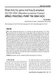 Phân tích họ gene mã hóa β-Amylase ở cây sắn (manihot esculenta crantz) bằng phương pháp tin sinh học - Cao Phi Bằng
