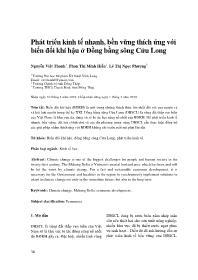 Phát triển kinh tế nhanh, bền vững thích ứng với biến đổi khí hậu ở Đồng bằng sông Cửu Long - Nguyễn Việt Thanh