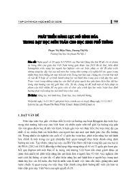 Phát triển năng lực mô hình hóa trong dạy học môn toán cho học sinh Phổ thông - Phạm Thị Diệu Thùy