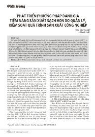 Phát triển phương pháp đánh giá tiềm năng sản xuất sạch hơn do quản lý, kiểm soát quá trình sản xuất công nghiệp - Trần Văn Thanh