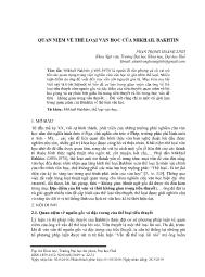 Quan niệm về thể loại văn học của Mikhail Bakhtin - Phan Trọng Hoàng Linh