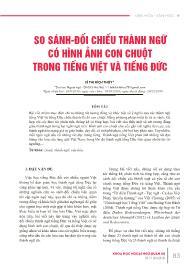So sánh - Đối chiếu thành ngữ có hình ảnh con chuột trong tiếng Việt và tiếng Đức - Lê Thị Bích Thủy