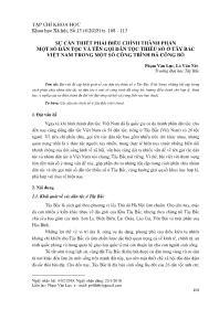 Sự cần thiết phải điều chỉnh thành phần một số dân tộc và tên gọi dân tộc thiểu số ở Tây Bắc Việt Nam trong một số công trình đã công bố - Phạm Văn Lực