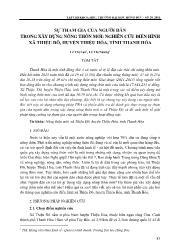 Sự tham gia của người dân trong xây dựng nông thôn mới: Nghiên cứu điển hình xã Thiệu Đô, huyện Thiệu Hóa, tỉnh Thanh Hóa - Lê Thị Lan