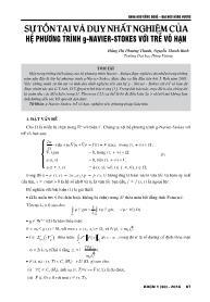 Sự tồn tại và duy nhất nghiệm của hệ phương trình G-Navier-stokes với trễ vô hạn - Đặng Thị Phương Thanh