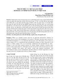 Thách thức và một số giải pháp đảm bảo an ninh nguồn nước ở Việt Nam - Trần Đình Hòa