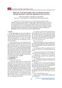 """Thiết kế và sử dụng phiếu học tập trong dạy học chủ đề """"Hàm số và phương trình bậc hai"""" (Toán 9) - Nguyễn Văn Thái Bình"""