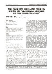 Thực trạng chính sách dân tộc thông qua hệ thống hóa và đánh giá các nghiên cứu liên quan từ năm 1986 đến nay - Trịnh Quang Cảnh