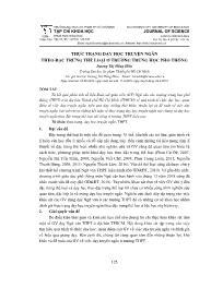 Thực trạng dạy học truyện ngắn theo đặc trưng thể loại ở trường Trung học Phổ thông - Dương Thị Hồng Hiếu