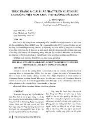 Thực trạng & giải pháp phát triển xuất khẩu lao động Việt Nam sang thị trường Đài Loan - Lê Thị Như Quỳnh
