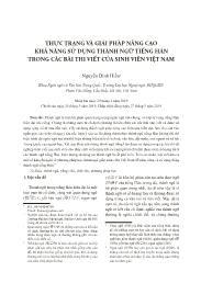 Thực trạng và giải pháp nâng cao khả năng sử dụng thành ngữ tiếng Hán trong các bài thi viết của sinh viên Việt Nam - Nguyễn Đình Hiền