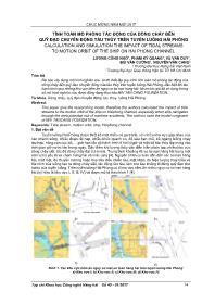 Tính toán mô phỏng tác động của dòng chảy đến quỹ đạo chuyển động tàu thủy trên tuyến luồng Hải Phòng - Lương Công Nhớ