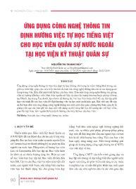Ứng dụng công nghệ thông tin định hướng việc tự học tiếng việt cho học viên quân sự nước ngoài tại học viện kỹ thuật quân sự - Nguyễn Thị Thanh Thủy