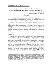 Vài nhận xét về tổ chức cộng đồng người Hoa ở Nam Trung Bộ (các tỉnh Quảng Ngãi, Bình Ðịnh, Phú Yên) - Nguyễn Văn Ðăng