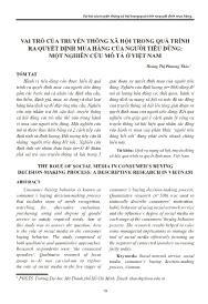 Vai trò của truyền thông xã hội trong quá trình ra quyết định mua hàng của người tiêu dùng: Một nghiên cứu mô tả ở Việt Nam - Hoàng Thị Phương Thảo