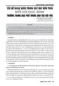 Vấn đề ngoại khóa trong dạy học môn toán đối với học sinh trường Trung học Phổ thông dân tộc nội trú - Phạm Thị Tình