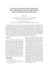 Vận dụng đường hướng tham gia trực tiếp trong công tác bồi dưỡng giáo viên tiếng Anh ở Việt Nam - Vũ Hải Hà