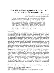 Về các phức hợp được chuyển nghĩa để chỉ tính chất của hoạt động nói năng trong Tiếng Việt - Lê Thị Cẩm Vân