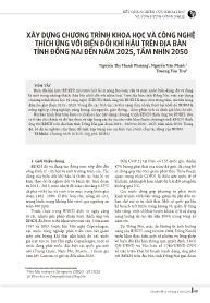 Xây dựng chương trình khoa học và công nghệ thích ứng với biến đổi khí hậu trên địa bàn tỉnh Đồng Nai đến năm 2025, tầm nhìn 2050 - Nguyễn Thị Thanh Phượng